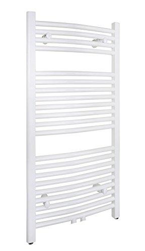 SixBros. R20 Badheizkörper (1000 x 450 mm, Watt 423) - Ovaler Heizkörper mit Handtuchhalter für das Bad - pulverbeschichtet - weiß - Glanz Weiß Pulverbeschichtet