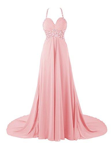 Dresstells, Robe de soirée de mariage/cérémonie/mère de mariée bretelles spaghetti forme empire traîne moyenne avec emperler sequins Rose