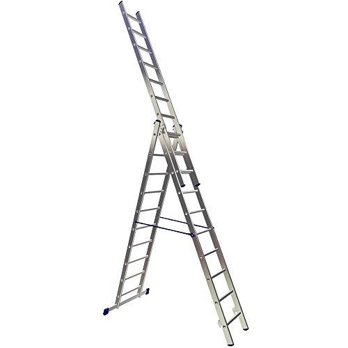 Vielzweckleiter mit 3 x 10 Sprossen, Aluminium, Bockleiter, Schiebeleiter, Anlegeleiter, Arbeitshöhe bis 6810 mm