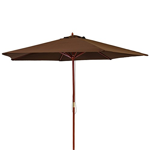 Ldk Garden 82421 - Parasol de jardín plegable, 300 x 300 x 250 cm, color chocolate