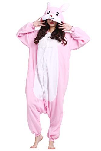 Kigurumi Pigiama Animali Adulto Unisex Pigiama Party Halloween Sleepwear Cosplay Costume Onesie, Rosa Coniglio
