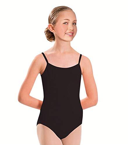 Furein Maillot de Danza Ballet Gimnasia Leotardo Body Clásico Elástico para Niña con Tirantes Cuello Redondo (01052 Negro, 6 años)