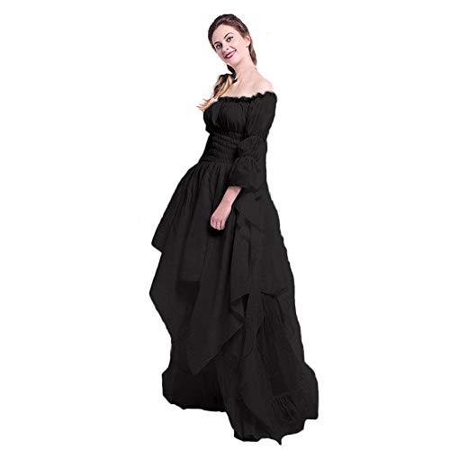 (Mittelalterkleider Damen,Briskorry Frauen Vintage Mittelalter Kleid Party Kostüm Renaissance Maxi Kleider Prinzessin Bodenlanges Kleid Übergröße Gothic Kleid)