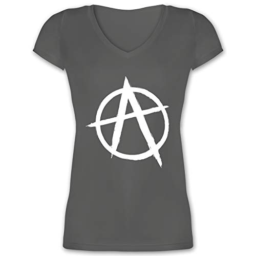 Festival - Anarchie A - S - Anthrazit - XO1525 - Damen T-Shirt mit V-Ausschnitt - Slim-tee-20 Beutel
