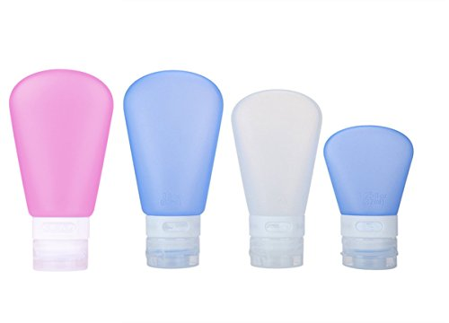 RoseFlower® Pack de 4 Bouteille de Voyage en Silicone - Set de 4 (85/85/60/37ml) - Squeezable & Contenants Réutilisables pour le Shampooing, Revitalisant, Lotion, Toilette - Approuvé par la ligne aérienne TSA