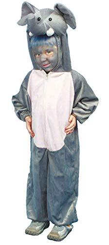 O621-116-128-A grau Kinder Junge Mädchen Elefant Elefanten Kostüm -