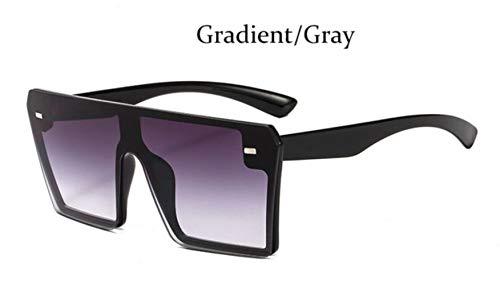 Cranky Orange Fashion Square Sonnenbrille Übergroße Damen Randlose Spiegel Marke Große Sonnenbrille Weiblich Schwarze Schattierungen Herren Flat Top Unisex, Grau verlaufend