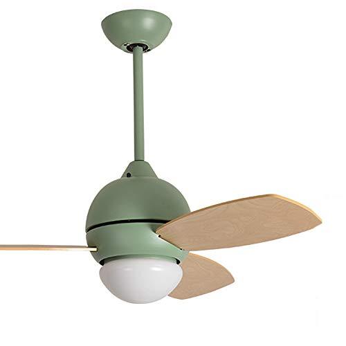 RXUNAA Modern 36 Zoll Holz Deckenventilator Mit Beleuchtung, Dimmbar Led-beleuchtung Deckenventilator Mit Licht Mit Fernbedienung Sommer Winterlauf Ventilator-grün 36inch