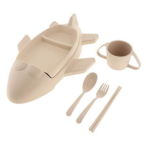 Fenteer Ensemble De Assiette Bol Nourriture Plastique Boite-Repas pour Enfants - Beige