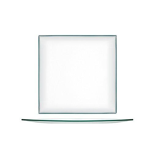 H&H Set De 6 Assiettes 25 Cm De Plats En Verre Transparent Carrés