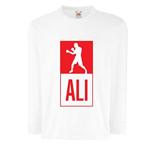 Kinder-T-Shirt mit langen Ärmeln Boxing - in Fight Style Für Training, Sport, Übung, Laufen, Fitness Kleidung (9-11 years Weiß Mehrfarben) (Weißen Roll-top Herren Socken)