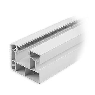 DIWARO Rolladen Führungsschiene aus Kunststoff weiss, für Maxi Rolladenprofile, mit beidseitiger Bürstendichtung in grau, Fixlänge 700mm