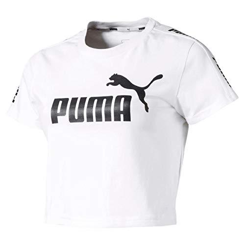 PUMA Damen Amplified Logo Fitted Tee T-Shirt, White, XS -
