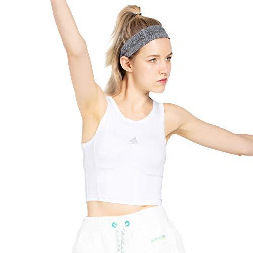Damen Sport Tank Top Frauen Yoga Shirts Kurze Weste Fitness Ärmellose Tops Schnell Trocknend Atmungsaktiv Gym T Reflektierende Druckhemd Farben Weiß Schwarz (S, Weiß) -
