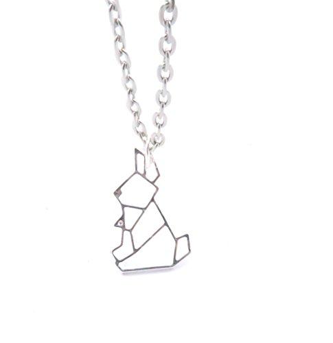 schmuck-stadt Origami Hasen Kette 60 cm Silber-Farben Modeschmuck