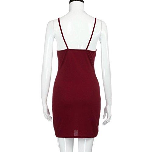BZLine® Frauen Summer Bodycon Cocktailparty Ärmelloses Partykleid Minikleid Rot