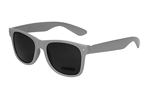 X-CRUZE® 8-002 X0 Nerd Sonnenbrille Retro Vintage Design Style Stil Unisex Herren Damen Männer Frauen Brille Nerdbrille - grau