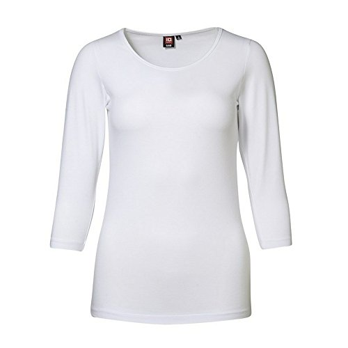 ID Damen Stretch T-Shirt | 3/4-Arm (2XL, weiß) (T-shirt 3/4 Arm)