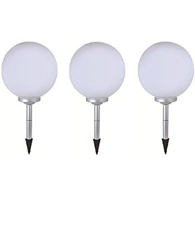 3 x LED Solar-Kugelleuchte Marla Solar-Kugellampe mit Erdspieß, Durchmesser 20cm, Dekoleuchte für Garten, Balkon Kugelleuchte
