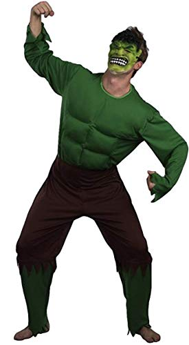 Mens Adult Green Giant Incredible Hulk Muscle Super Hero Fancy Dress Costume Outfit (XL)