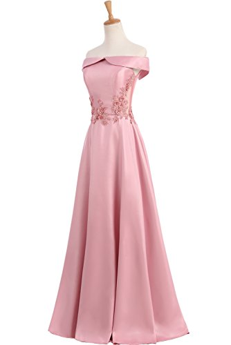 TOSKANA BRAUT Elegant Neu 2017 Satin Applikation Abendkleider lang Promkleider Partykleider Rosa