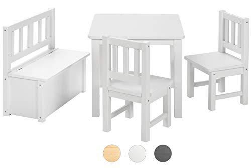 BOMI Kindertisch mit 2 Stühle mit integrierter Spielzeugkiste | Kindertruhenbank aus Kiefer Massiv Holz für Kleinkinder, Mädchen und Jungen Weiß - Kinder Tisch Und Stuhl