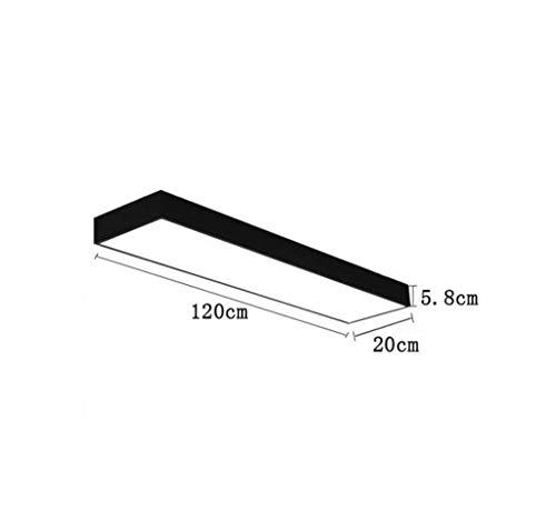 GCCI Led Office Einfache Deckenmaterial Aluminium Rechteckige Moderne Leuchtstoff Schreibtischlampen Streifenlampe 2835 Weiß Licht Chip Wählen,120 * 30cm schwarz (Leuchtstoff Schwarz Licht)