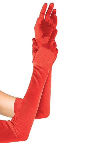 Leg Avenue 16B - Extralange Satin-Handschuhe, rot, Einheitsgröße, Damen Karneval Kostüm (Satin Lange Handschuhe Rote)
