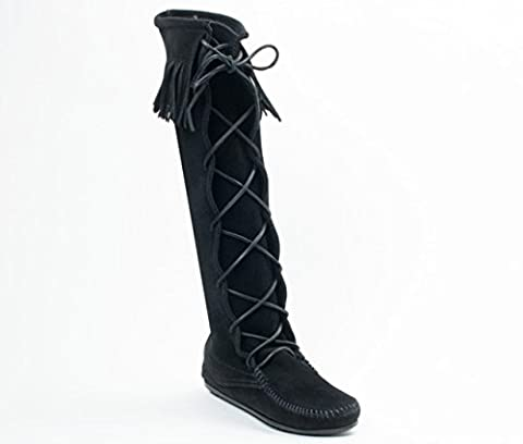 Minnetonka Front Lace Moccasins 1429 Women's Knee High Boot Hardsole Black Suede (LADIES UK 8 / EU