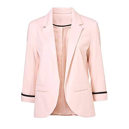 Damen Strickjacke, leicht, 3/4-Ärmel, gerafft, einfarbig, vorne offen, Blazer für Freizeit, Büro, Boyfriend, Blazer für Frauen