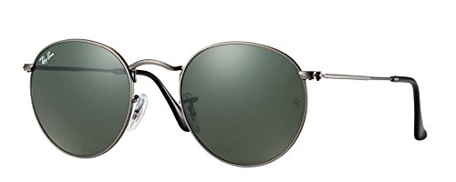 Ray-Ban Round Sunglasses RB3447 John Lennon (50 mm Gunmetal Frame Solid Black G15 Lens)