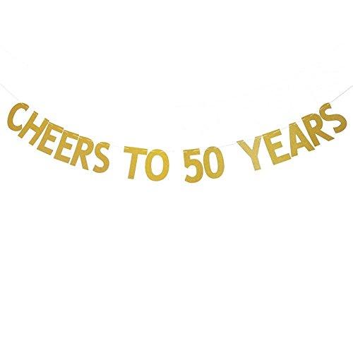 Veewon Beifall bis 50 Jahre Banner Gold Glitzer Briefe Bunting Girlanden 50. Geburtstag Jubiläum Party Foto Prop Dekor