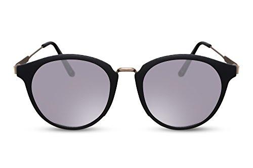 Cheapass Sonnenbrille Rund-e Matt-Schwarz Silber-n Verspiegelt-e Gläser UV-400 Vintage Designer-Brille Männer Frauen