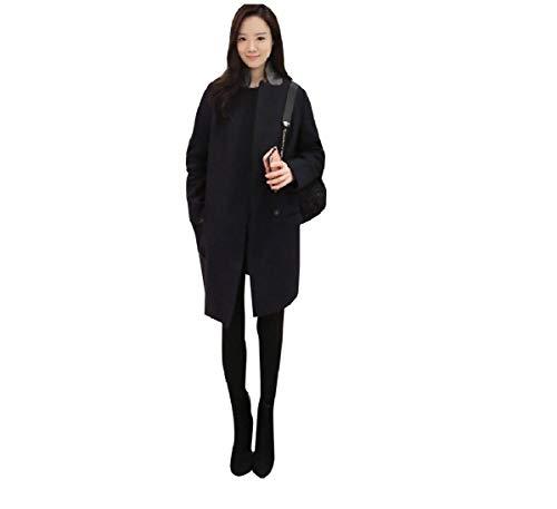 CuteRose Womens Slim Fit Faux Wool Fall Winter Classics Jackets PEA Coat Black L Womens Wool Toggle