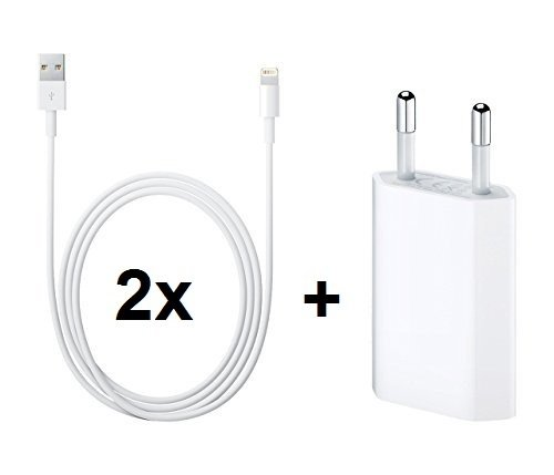 myTech® Premium SUPER SET 3 in 1 - 2x iPhone Lightning Kabel 8 Pin auf USB Kabel / Ladekabel / Datenkabel für Apple iPhone 6 / 6 Plus / 5s / 5c / 5, iPad Air / iPad Air 2 / iPad mini / iPad mini 2, iPad 4, iPod touch 5G, iPod nano 7G, 1 Meter - Weiß + Premium Highspeed Netzteil