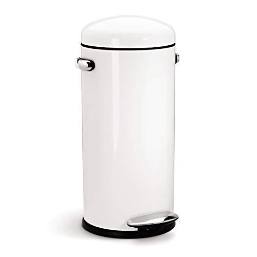 simplehuman CW1259 poubelle rétro à pédale, acier inox blanc 30 L
