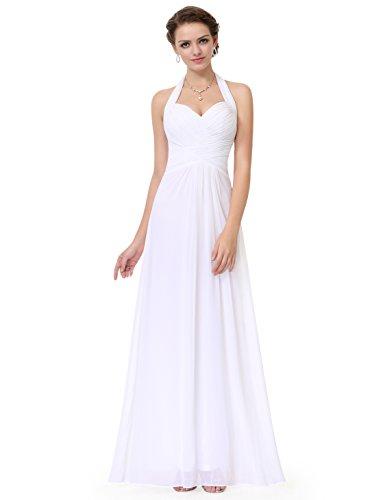 Rüschen Kleid (Ever Pretty Damen Elegant Rueschen Neckholder Lang Maxi Party Abendkleid 48 Größe Weiß EP08487WH16)