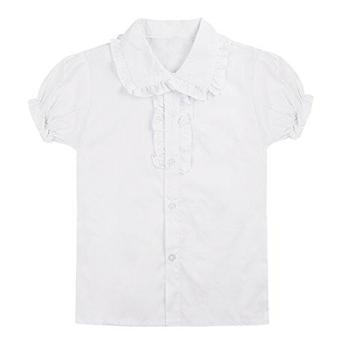 Freebily Blusa Blanca para Niñas Infántil Uniforme Escolar Niñas Muchachas de 4-13 Años Blusa de Manga Corta Volantes de Fiesta Blanco 10-11 Años