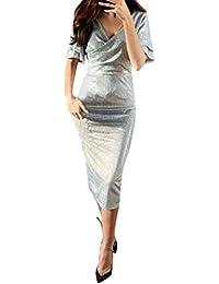 TIMEMEANS Robe Longue Robe Pull Femme Robe de Soiree Robe Vintage Femme Robe  Femme Chic Robe 8575ab39896
