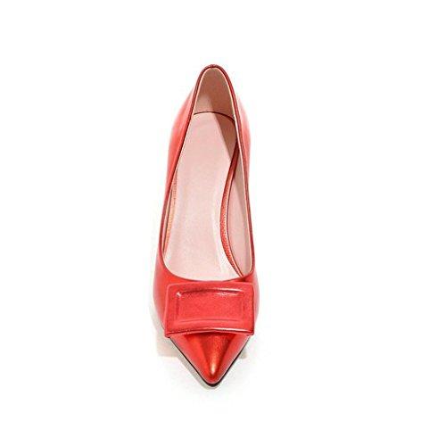 W&LMZapatos Zapatos individuales Puntiagudo En el talón Bien con Boca rasa Mujer baja para ayudar a los zapatos lugar de trabajo Salón de baile Red