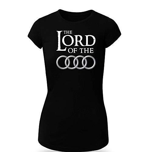 Audi Lord of The Rings Logo T-Shirt Clipart Women CAR Logo Auto Tee TOP Black Long Sleeves Short Sleeves (XL, Black - Short) -