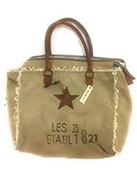 f7d271659b TERRE ROUGE, Sac à Main en toile Kaki avec inscription vintage et étoile en  cuir