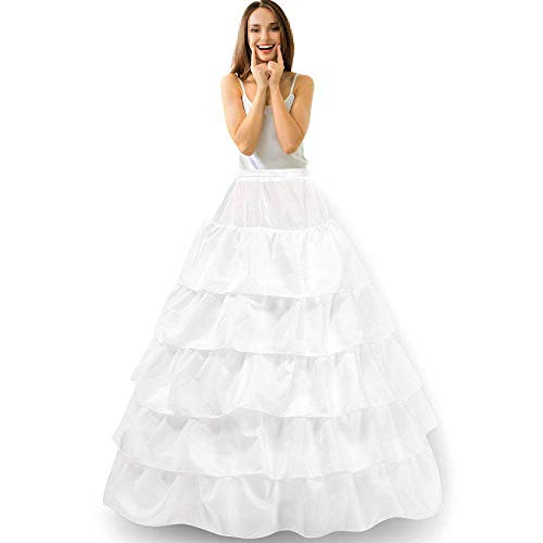Reifrock Unterrock Petticoat Damen Hochzeitskleider Underskirt Krinoline Brautkleider mit Schichten Tüll für Hochzeit Party Barock Kleid Slip Rock verstellbar Unterröcke - 4 Hoop 5 Flouncing Weiß
