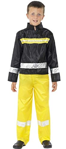 Helden Und Kostüm Bösewichte - Fancy Me Jungen Feuerwehrmann Uniform Notfall Services Hero Helden & Bösewichte Verkleidung Kleid Kostüm Schuhe 4-12 Jahre - schwarz/gelb, 4-6 Years