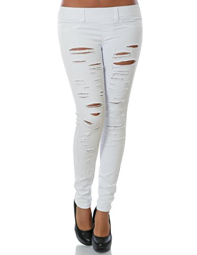 Damen Bauchweg Leggings Slim Treggings Hose Jeans Optik Jeggings High Waist 23