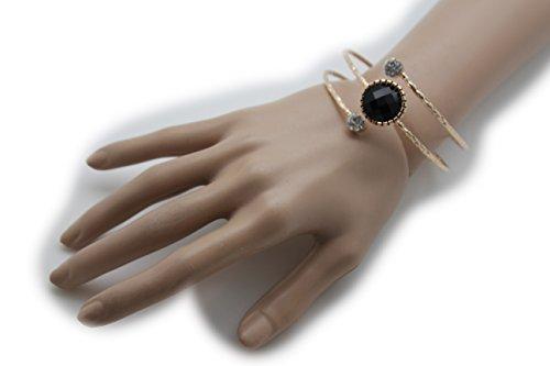 télévision Française Juive Frauen Fashion Jewelry Metall Armreif Armband Handgelenk Schwarz Charm Bead Gold - Ariana Halloween Grande