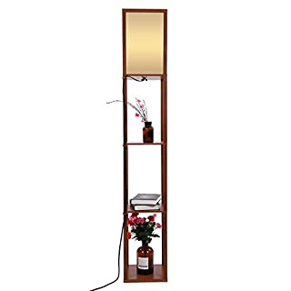 Zerone Modern Oak Wooden Floor Lamp, Fabric Floor Lamp with Built in Shelving Units for Livingroom (Brown)