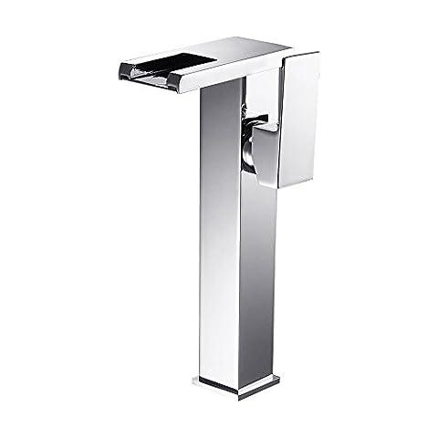 Pumpink Contrôle de température LED Glowing Discoloration Robinet de lavabo Cuivre Hauteur Up Sink Waterfall Creative Bathroom Mixer Tap ( Size : High )