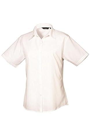Premier Ladies Short Sleeve Poplin Blouse White 16