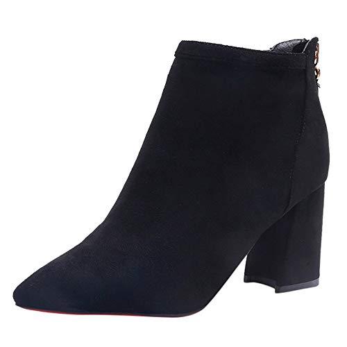 3bfd98b6960e6 Bottes Courtes Femmes, Manadlian Martin Bottes Daim Boots Hiver Chelsea  Chic Zipper Chaussures Bottes 5CM